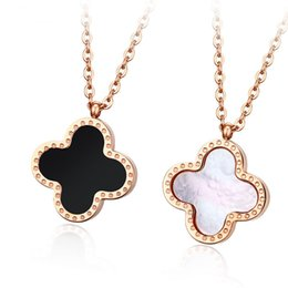 Wholesale Gold Leaf Rose - Double Faced Black Lucky Four Leaf Clover Women Choker Necklace Rose Gold Short Design Pendant Chain Gift Gossip Girl Serena Same Necklace