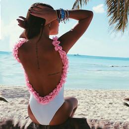 Wholesale Swimwear Jumpsuit - Women one piece swimsuit Backless Bodysuit Jumpsuit 3D Flower Strap Nightclub Stretch Short Rompers White swimwear Plus size bikini