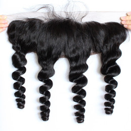 Wholesale Indian Remy Hair Closures - Brazilian Loose Wave 13x4 Ear To Ear Pre Plucked Lace Frontal Closure With Baby Hair Remy Human Hair Free Part Top Frontals