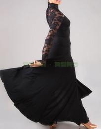 Wholesale Tango Evening Dress - Black Sexy lace dress modern dance waltz Tango Foxtrot quickstep costume competition wear evening dress International Dance Skirt