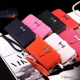 Wholesale Luxury Designer Iphone Wallet Case - luxury Designer Wallet Leather Case For iPhone 6 6S 7 7 Plus 5S Fashion H Colorful Flip Cover case high quality Phone Case Free Shipping