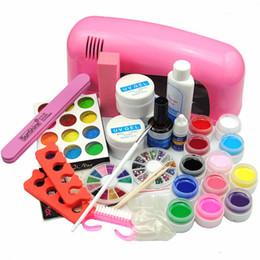 Wholesale french manicure nail kit - Wholesale- Pro UV Gel Kit 9W Nail Dryer Lamp Gel Buffer Nail Manicure Tools Brush Rhinestone Glitter Powder UV Gel French Manicure Tip Set