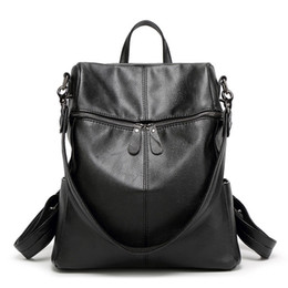 Wholesale Laptop Shoulder Leather - Wholesale- 2016 Korean style Women Backpack Leather Black Shoulder Bag Big Size School Back Bags For Teenager Girls lady's laptop backpack