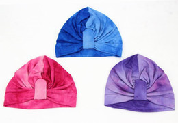 Wholesale Tie Baby Hats - 3 Colos Baby Girls Hats Tie-dyed Bohemia Knotted Elastic Cap Muslim Fashion Caps Baby Accessories MZ206