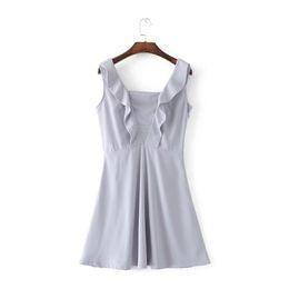 Wholesale Lady Chiffon Dress High Waist - Brief Minimalism Stringy Selvedge Women's Dress 2017 Summer Sleeveless Tank Vestidos Solid Color High Waist Ladies Suspender Dresses