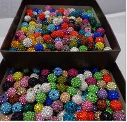 Wholesale Wholesale Shambala Necklace - 100pcs 10mm Crystal shambala Beads Pave Clay Disco Ball Beads for Shamballa Necklace Bracelet