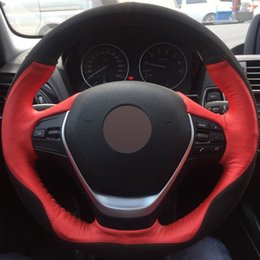 Wholesale Bmw 328i - Black Suede Red Genuine Leather DIY Hand-stitched Car Steering Wheel Cover for BMW F30 320i 328i 320d F20