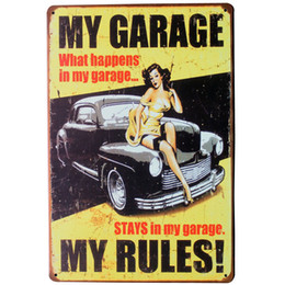 Wholesale Movie Tin Signs Wholesale - Wholesale- MY GARAGE MY RULES Tin Sign Vintage Decor Plate Lady and Car for home hotel movie cinema theater wall art LJ2-1 20x30cm B1