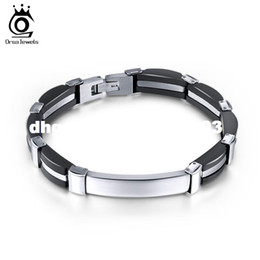 Wholesale Gentle Style - 20.5 CM Silicone Mix Stainless Steel Gentle Style Men's Gift Personality Jewelry for Best Friend GTB17