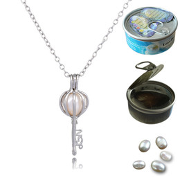 Wholesale Necklace Heart Pendant Hollow - Silver Fashion Heart & Love Key Pearl Bead Cage Pendant Necklace Hollow Out Pearl Locket Colar Chokers Necklaces Jewelry