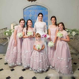 Wholesale Cheap T Shirts For Kids - 2017 Custom Made Flower Girl Dresses for Wedding Blush Short Sleeve 3D Flowers Jewel Cheap Junior Bridesmaid Dress Kids Birthday Party Gown