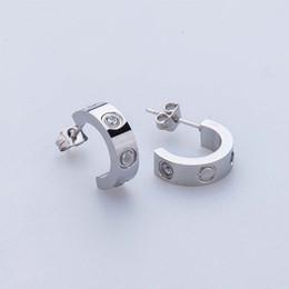 Wholesale Fine Black Ladies - Lady fashion 316L Stainless Steel love stud earrings with screw crystal earrings for women men Couples fine jewlery wholesale