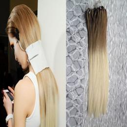 No Remy 6/613 ombre micro anillo extensiones de cabello Recto 100g 100% cabello humano virgen indio desde fabricantes