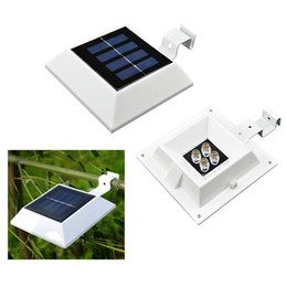 Wholesale Gutter Lights - Outdoor Solar Powered 4 LED Fence Gutter Garden Yard Roof Wall Lamp solar emergency light Free Shipping by DHL