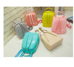 Wholesale Yellow Jelly Bags - Woman jelly bag mini backpack adult child candy color beach waterproof