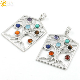 Wholesale energy necklace stones - CSJA 2017 Reiki 7 Chakra Stone Beads Energy Healing Point Dowsing the Chakras Theory Necklace Tree Life Charms Pendant Jewelry Gift E069