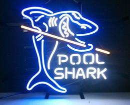 Billard néon en Ligne-17''X14''Pool Shark Billiards Sign Huit Chambres Neon Home Bar Light Real Neon
