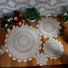 Wholesale Hand Crochet Doilies - Wholesale- 100% Cotton Hand Made Crochet Doilies Cup Mat Pad Coaster 4 Vintage Crochet Motifs 15-45cm White Beige HD089 HD090