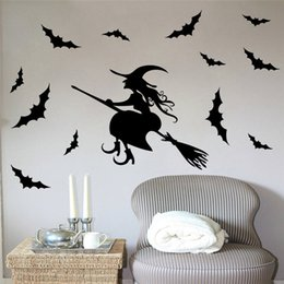 Wholesale Witches Wall Stickers - pvc fashion Creative DIY Halloween broom witch wall sticker black Carved room Removable Windows Decorating art Sticker Decor 2017 Wholesale