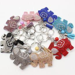 Wholesale Animal Car Accessories - New elephant key chain wholesale creative tassel Rhinestones key rings cute car pendant accessories free shipping