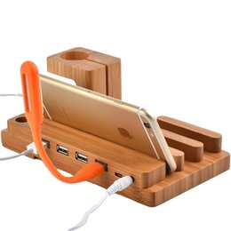 Wholesale Docking Station For Iphone Ipad - Bamboo Wooden 4 in 1 USB 4 Port Micro HUB Charging Stand Station Dock Platform Cradle Holder For iPhone iPad iPod Apple Watch