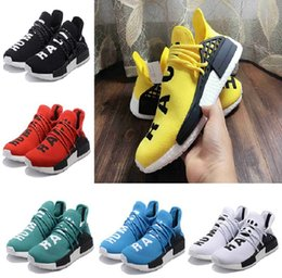 Wholesale Canvas Flats Shoes Kids - 2017 Pharrell Williams X NMD HUMAN RACE In Yellow red black blue grey green white kids adults Classic Fashion Sport sneakers Shoes