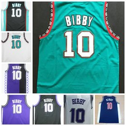 Wholesale Cheap Blacks Shirt - Cheap Mens #10 Mike Bibby Jersey Purple White Black Stitched Throwback Mike Bibby Shirt College Basketball Jerseys Free Fast Shipping