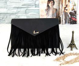 Wholesale Brown Suede Clutch - New Fashion Women Leather Shoulder Bags Vintage Tassel Designer Messenger Bag Luxury Ladies Handbag Clutch Bags Bolsa Feminina