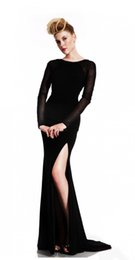 Wholesale Evening Black Turtleneck Dress - 2017 new sexy mermaid long-sleeved dress gown black turtleneck beaded, unbacked mermaid formal evening gown BU956