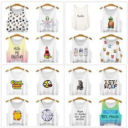 Wholesale Galaxy Tanks - DHL free 16colors Women Fashion Vest Space Galaxy Letter 3D Print Sleeveless casual Short Crop Top Summer sexy Girl Camis Tanks Tops T-Shirt