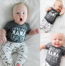 Wholesale Toddler Cotton Tshirts - ins Boys Girls Baby 2pc Set Summer Short Sleeve Cotton tshirts Arrow Pants Outfits Toddler Boutique Clothes Set