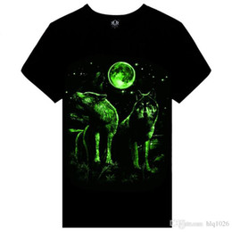 Wholesale Glow Dark Printing - Summer brand clothing Novelty Mens tshirt homme 3D Glow in the Dark Luminous t shirt Men Wolf Printed Short Sleeve tee free shipping