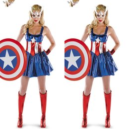 Wholesale halloween costume captain america - Captain America Super Heroes Bodysuits Cosplay Halloween Adult Female The Avengers Zentai Teddies Dresses Performance Costumes