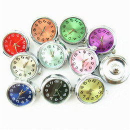 Wholesale Button Components - Round Glass Watch 18mm Ginger Snap Buttons for Noosa Charms Fit Snap Bracelet Women Bangles Fashion Jewelry Components