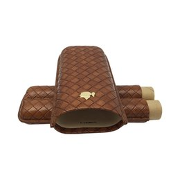 Wholesale Cohiba Travel Humidor - Newest Cigar Accessories Best Seller Cigarette Humidor COHIBA Genuine Leather Travel Brown Smoke Cigar Humidor ES-CH-079