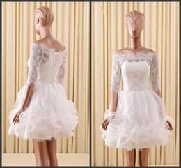 Wholesale Cheap Short Dreses - Short Wedding Dreses Lace Off SHoulder Neck Lace Up Back Sweet Girls Wear Garden Bridal Gown Cheap Appliques Pipings Half Sleeve Elegant