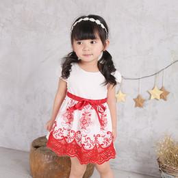 Wholesale Organza Dot Ribbon - Girl 2017 summer embroidered dress, baby short sleeve skirt Strapes Dress Comfortable Princess Party Dancing Dressy Girl Dresses w1706