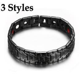 биомагниты Скидка 3 стили Магнитный браслет для мужчин черный здоровья энергии био магнитотерапия Германий браслеты из нержавеющей стали браслет унисекс ювелирные изделия B814S