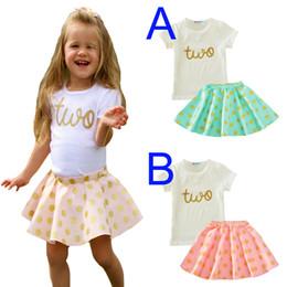 Wholesale Kawaii Letter Sets - Toddler Girl Clothing Sets Summer 2017 Letter Two T Shirt+Polka Dot Skirts 2pcs Baby Clothes Kawaii Pink Green Kids Girls Clothing Set