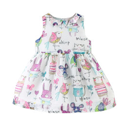 Wholesale Dolls Tutus - Summer new Korean version of the European and American children's wear female baby graffiti bird doll collar chiffon dress