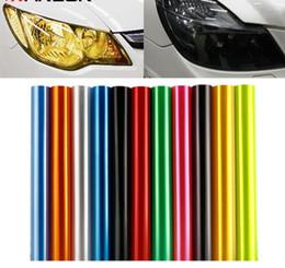Wholesale Carbon Fiber Sheets Auto - 30cm x 100cm Auto Car Tint Headlight Taillight Fog Light Vinyl Smoke Film Sheet Sticker Cover 12inch x 40inch Car styling