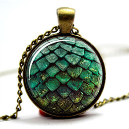 Wholesale egg dragon - 10pcs lot Game of thrones green dragon egg glass cabochon dome Pendant necklace