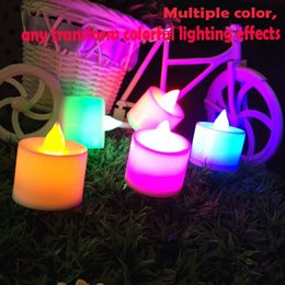 Wholesale Gel Wax For Candles Wholesale - wholesale 24pcs Set Led Flameless Color Changing Flickering Tealight Candles Battery Operated for Wedding Birthday Party Christmas Home