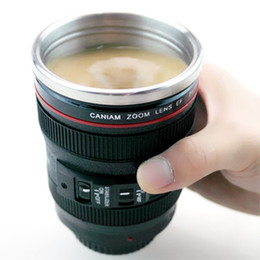 Wholesale Wholesale Reusable Coffee Cups - Stainless Steel Cups Lens Camera Emulation Coffee Cup Kitchen Dining Bar Tea With Coffee Auto Shake Reusable Water Bottles Home Office Cup
