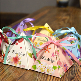 Wholesale Triangle Sweet Box - 2017 New 200pcs Baby Shower Triangle Candy Box Gift Sweets Box Party Show Favor Box Party Decoration kids birthday party decorations