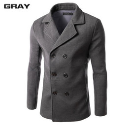 Wholesale Men Double Breasted Coat Sale - Wholesale- Hot sale solid wool coat men wool & blends casual slim fit double breasted autumn and winter trench coat men