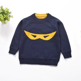 Wholesale Boys Batman Jumper - New Fashion Children Cartoon Batman Cotton Long-Sleeve Sweater Knit Soft Kid's Tops Blouses Sweater Cute Pattern Boys Sweater
