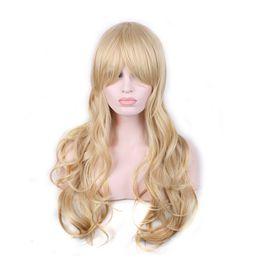 Deutschland WoodFestival lange blonde lockige Perücken natürliche billige Haarperücke blonde Faser synthetische Perücken mit Pony gute Qualität Versorgung