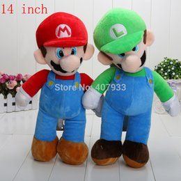 """Wholesale Super Mario Toys Accessories - Super Mario 14"""" 35cm Cute Super Mario Bros Stand MARIO LUIGI Plush Doll Stuffed Toy"""