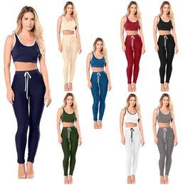 Wholesale Workout Capris Women - 2Pcs Women Sport Yoga Sets for Running Gym Sportwear Sports Top Gym Bras Elastic Capris Fitness Tights Suit Workout Sportswear